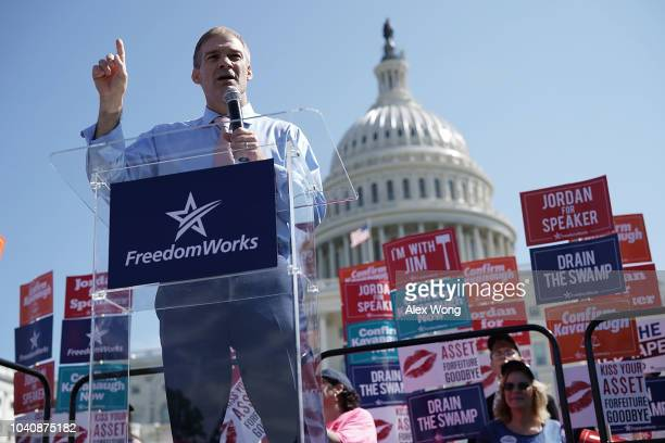 S Rep Jim Jordan speaks during a rally hosted by FreedomWorks September 26 2018 at the West Lawn of the Capitol in Washington DC FreedomWorks hosted...
