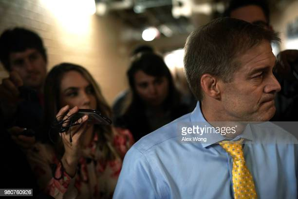 S Rep Jim Jordan speaks to members of the media after he left a House Republican closed door meeting on immigration June 21 2018 at the US Capitol in...