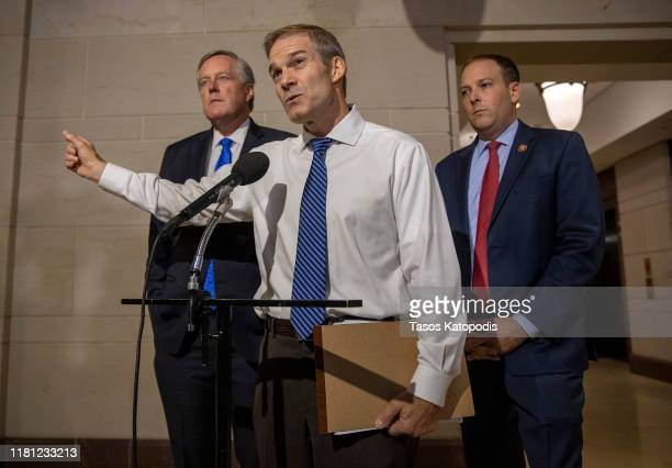 S Rep Jim Jordan speaks to the media before a closed session before the House Intelligence Foreign Affairs and Oversight committees October 15 2019...