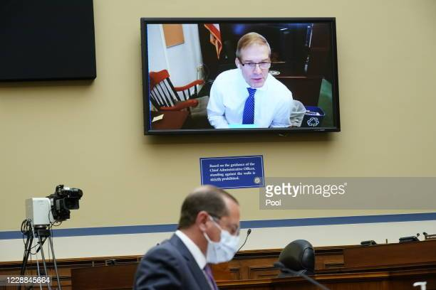 Rep. Jim Jordan speaks virtually as Secretary of Health and Human Services Alex Azar testifies before the House Select Subcommittee on the...