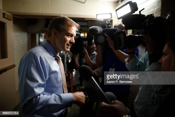 Rep Jim Jordan speaks with reporters ahead of a House Republican conference meeting July 11 2018 on Capitol Hill in Washington DC Jordan a founding...