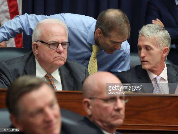 Rep Jim Jordan talks with Rep Trey Gowdy during a hearing where Deputy Assistant FBI Director Peter Strzok appeared before a joint committee hearing...