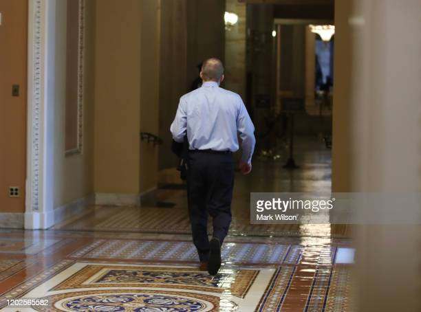 Rep Jim Jordan walks through the US Capitol where President Donald Trumps Senate impeachment trial is taking place on January 28 2020 in Washington...