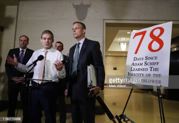 Rep Jim Jordon speaks to members of the media outside a closed session before the House Intelligence Foreign Affairs and Oversight committees at the...