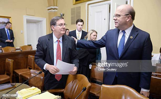 Rep. Jim McGovern greets Rep. Michael C. Burgess before a House Rules Committee meeting February 2, 2015 on Capitol Hill in Washington, DC. The...