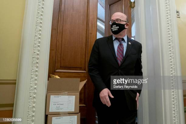 Rep. Jim McGovern wears a proactive mask while walking through the U.S. Capitol on January 11, 2021 in Washington, DC. House Republicans blocked...