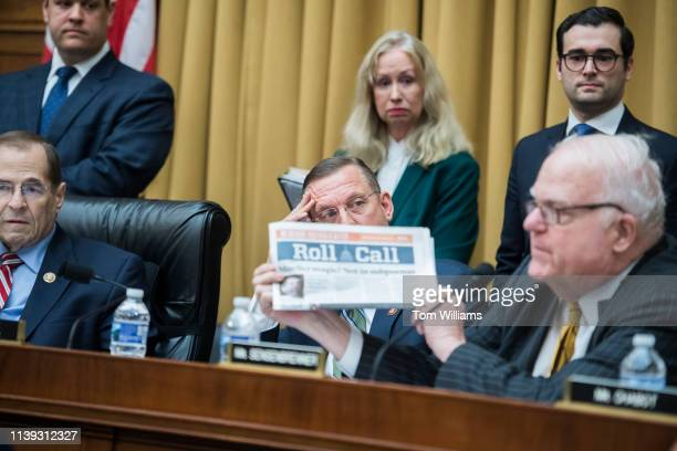 Rep Jim Sensenbrenner RWis cites a Roll Call story as Chairman Jerrold Nadler DNY left and ranking member Rep Doug Collins RGa look on during a House...