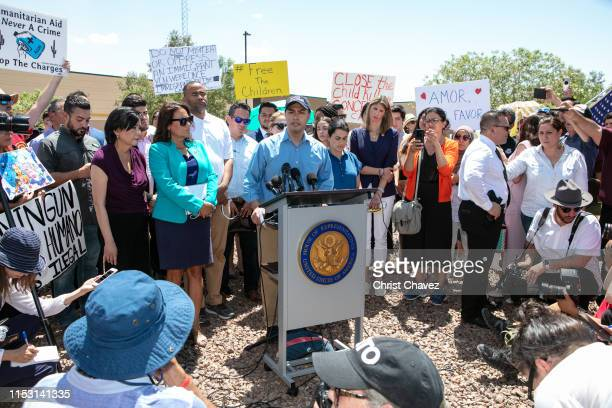 Rep Joaquin Castro addresses the media after touring the Clint TX Border Patrol Facility housing children on July 1 2019 in Clint Texas Reports of...