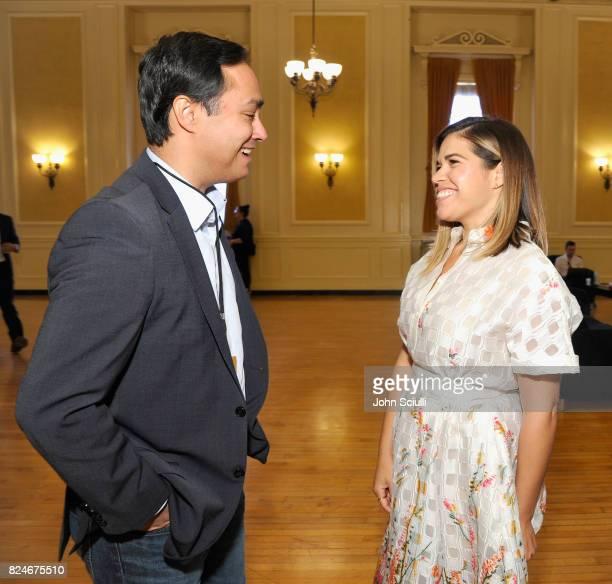 Rep Joaquin Castro and America Ferrera at Politicon at Pasadena Convention Center on July 30 2017 in Pasadena California