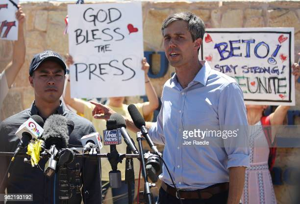Rep Joaquin Castro and Rep Beto O'Rourke speak to the media after touring the tent encampment near the TornilloGuadalupe Port of Entry on June 23...