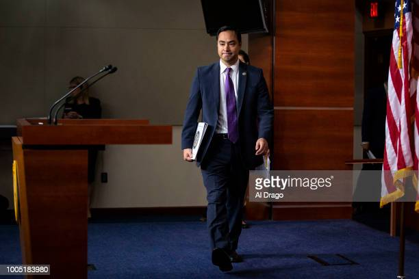 Rep Joaquin Castro arrives for a news conference with Democratic lawmakers on Capitol Hill on July 25 2018 in Washington DC The lawmakers addressed...