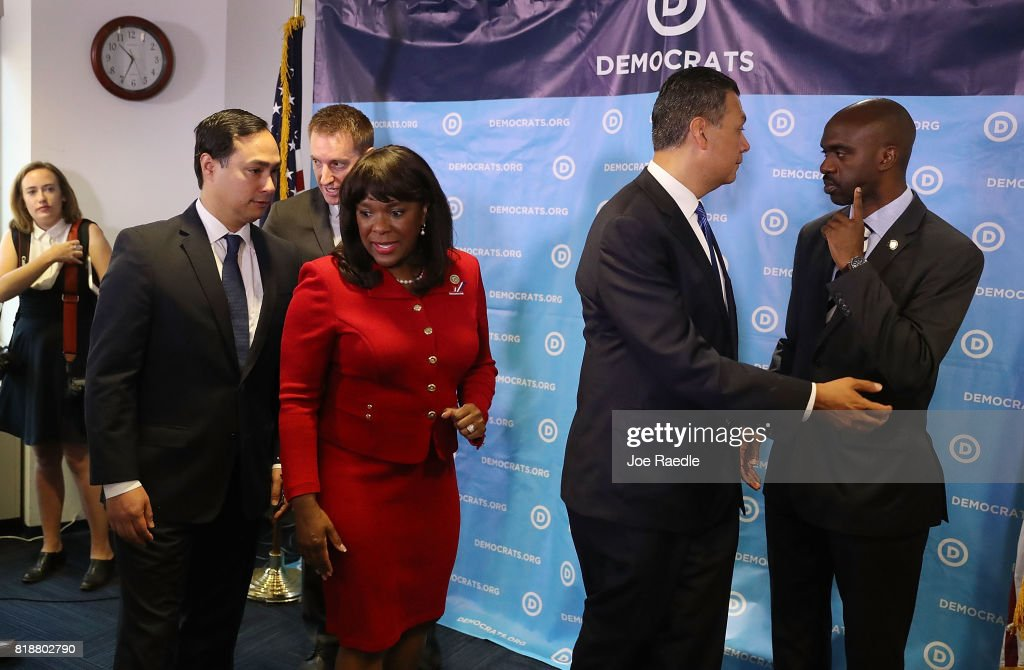 Rep. Joaquin Castro, (D-TX), Jason Kander, president of Let America Vote, Rep. Terri Sewell (D-AL), California Secretary of State Alex Padilla and DNC Vice Chair Michael Blake attend a press conference held at the Democratic National Headquarters on July 19, 2017 in Washington, DC. The news conference was held 'to explain why the Trump administration's voter fraud commission was set up from the start to mislead the public and the steps that Democrats will take to fight back.