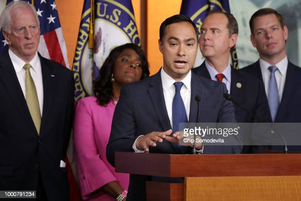 Rep Joaquin Castro joins fellow current and former members House Intelligence Committee for a news conference about the TrumpPutin Helsinki summit in...