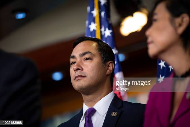Rep Joaquin Castro listens during a news conference with Democratic lawmakers on Capitol Hill on July 25 2018 in Washington DC The lawmakers...
