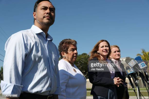 Rep Joaquin Castro Rep Donna Shalala Rep Debbie MucarselPowell and Rep Sylvia García speak to the media after touring the Homestead Temporary Shelter...