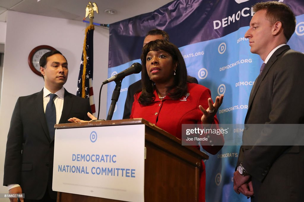 Rep. Joaquin Castro, (D-TX), Rep. Terri Sewell (D-AL),and Jason Kander, president of Let America Vote, attend a press conference held at the Democratic National Headquarters on July 19, 2017 in Washington, DC. The news conference was held 'to explain why the Trump administration's voter fraud commission was set up from the start to mislead the public and the steps that Democrats will take to fight back.