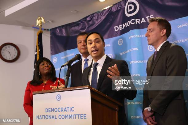 Rep Joaquin Castro speaks as Rep Terri Sewell California Secretary of State Alex Padilla and Jason Kander president of Let America Vote listen during...