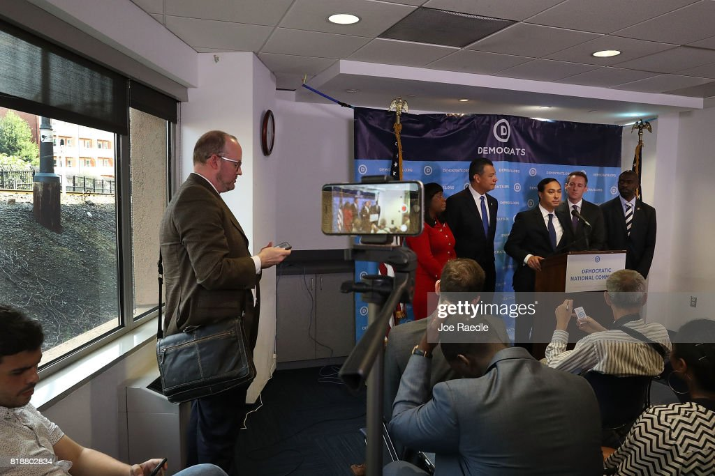 Rep. Joaquin Castro, (D-TX), speaks as (L-R) Rep. Terri Sewell (D-AL), California Secretary of State Alex Padilla, Jason Kander, president of Let America Vote, and DNC Vice Chair Michael Blake listen as they attend a press conference held at the Democratic National Headquarters on July 19, 2017 in Washington, DC. The news conference was held 'to explain why the Trump administration's voter fraud commission was set up from the start to mislead the public and the steps that Democrats will take to fight back.