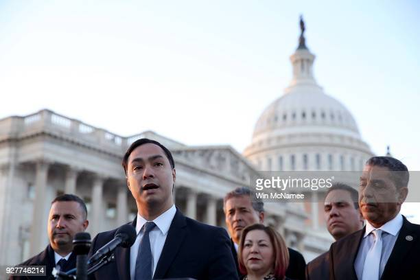 Rep Joaquin Castro speaks at a press conference outside the US Capitol with other members of the caucus on March 5 2018 in Washington DC The caucus...