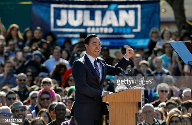 S Rep Joaquin Castro speaks before his twin brother Julian Castro former US Department of Housing and Urban Development Secretary and San Antonio...