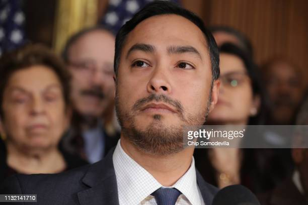 Rep Joaquin Castro speaks during a news conference about the resolution he has sponsored to terminate President Donald Trump's emergency declaration...