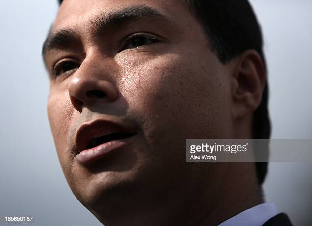 S Rep Joaquin Castro speaks during a news conference October 23 2013 on Capitol Hill in Washington DC The caucus was joined by House Democratic...