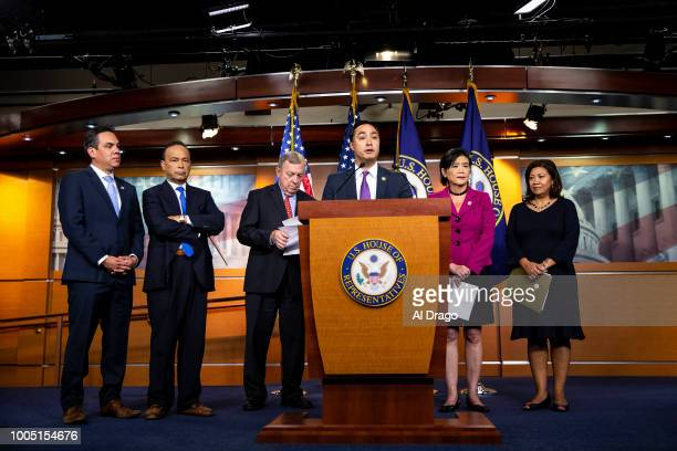 S Rep Joaquin Castro speaks during a news conference with Democratic lawmakers on Capitol Hill on July 25 2018 in Washington DC The lawmakers...