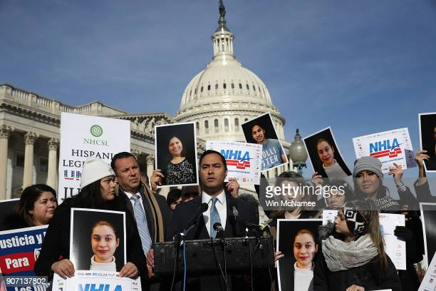 Rep Joaquin Castro speaks during a press conference on immigration reform and a looming government shutdown outside the US Capitol January 19 2018 in...