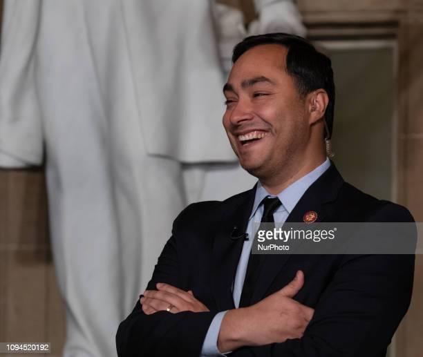 Rep Joaquin Castro speaks to reporters after US President Donald Trump's second State of the Union address to a joint session of Congress at the US...
