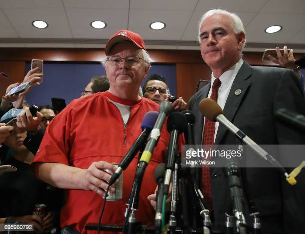 Rep Joe Barton and Rep Patrick Meehan speak to the media about todays shooting at the Congressional baseball practice on June 14 2017 in Washington...