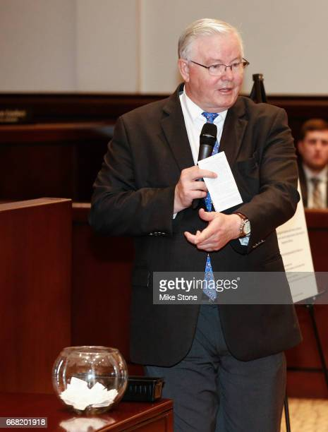 Rep Joe Barton explains the lottery system which would be used to determine which attendees were permitted to ask questions during a town hall...