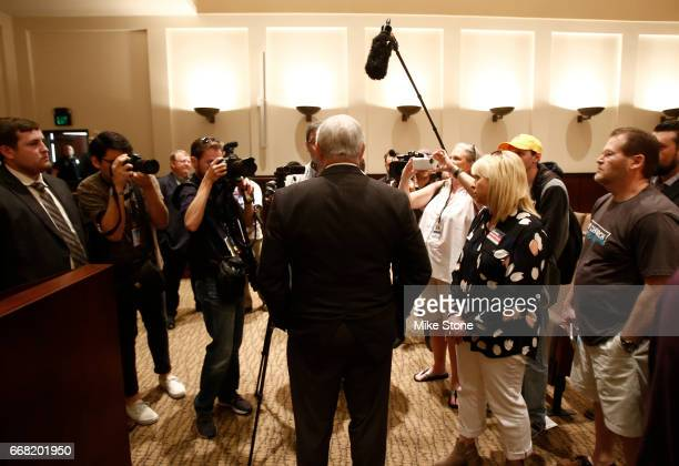 Rep Joe Barton talks with members of the media following a town hall meeting at Mansfield City Hall on April 13 2017 in Mansfield Texas A capacity...