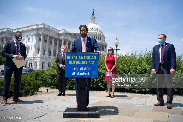 Rep. Joe Cunningham, D-S.C., joined by other lawmakers, speaks during a news conference on the Great American Outdoors Act in the Capitol in...