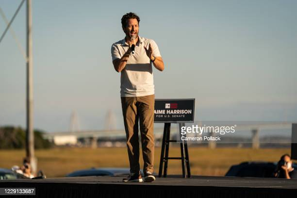 Rep. Joe Cunningham speaks to rally goers at a drive-in rally for Democratic senate candidate Jaime Harrison on October 17, 2020 in North Charleston,...