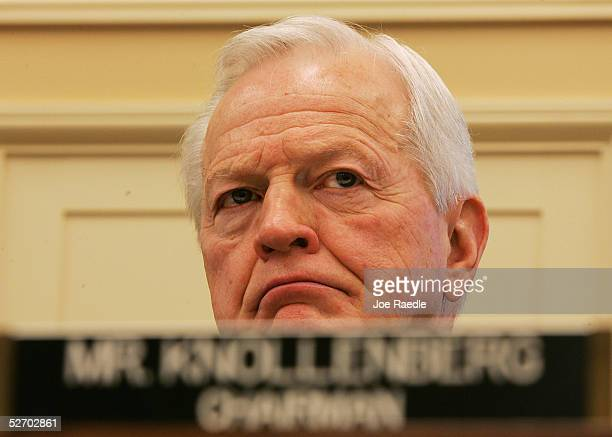 S Rep Joe Knollenberg chairman of the Appropriations Subcommittee on Transportation Treasury and Housing and Urban Development listens as Amtrak...