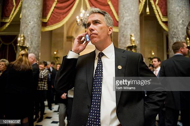 Rep Joe Walsh RIll makes a phone call in Statuary Hall after being sworn into the 112th Congress