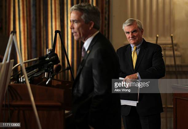 S Rep Joe Walsh speaks as President of Let Freedom Ring Colin Hanna listens during a news conference June 22 2011 on Capitol Hill in Washington DC A...