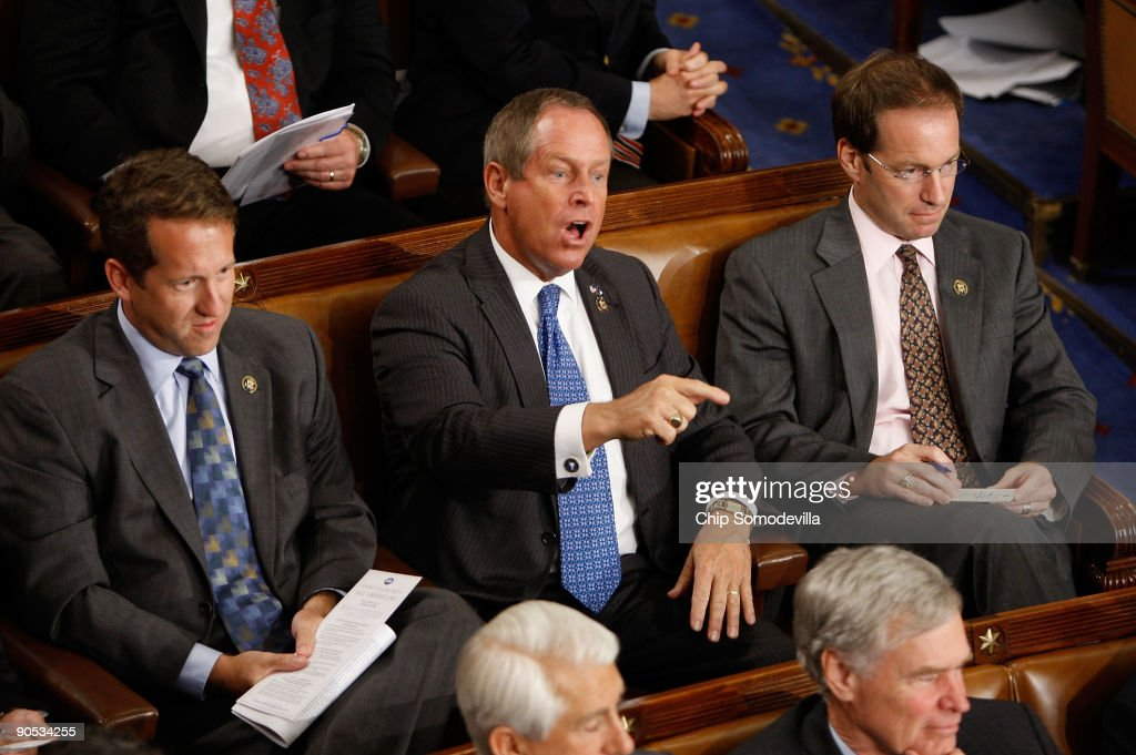 Rep. Joe Wilson (R-SC) shouts as U.S. President Barack Obama addresses a joint session of the U.S. Congress at the U.S. Capitol September 9, 2009 in Washington, DC. Obama addressed the joint session to urge passage of his national health care plan, the centerpiece of his domestic agenda.