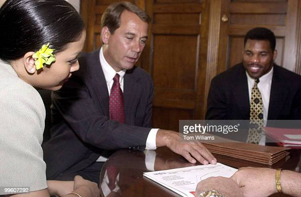 Rep John Boehner ROH meets with Miss America Angela Perez Baraquio and football star Hershal Walker The two celeberities were promoting National...