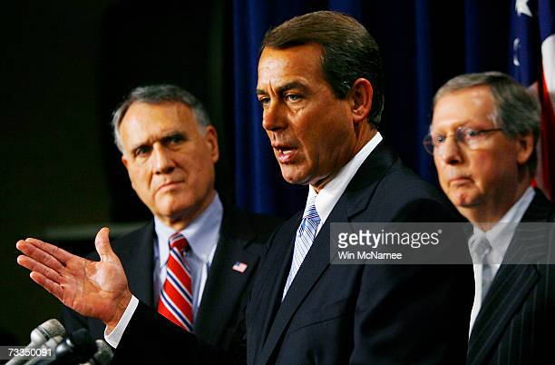 Rep John Boehner speaks during a press conference with Republican members of Congress on the Iraq war vote February 16 2007 in Washington DC Joining...