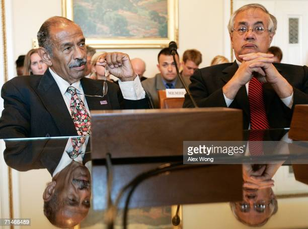 S Rep John Conyers and Rep Barney Frank testify during a hearing before the House Committee on Rules July 17 2006 on Capitol Hill in Washington DC...