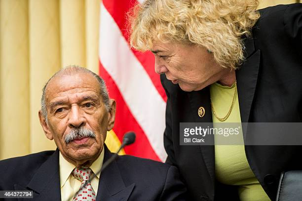 Rep John Conyers DMich and Rep Zoe Lofgren DCalif speak during the House Judiciary Committee hearing on The Unconstitutionality of Obama's Executive...