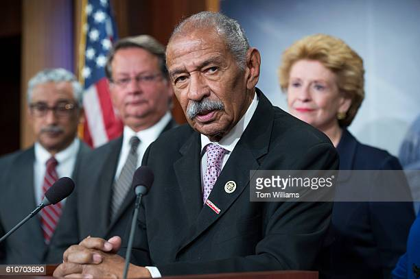 Rep John Conyers DMich speaks at a news conference in the Capitol to call for aid for the Flint water crisis be included in the government funding...