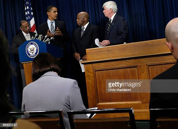 Rep John Conyers DNY Sen Barack Obama DIll Rep John Lewis DGa and Sen Christopher Dodd DCt criticize former President Jimmy Carter and former...