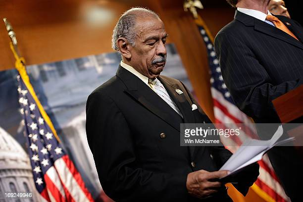 Rep John Conyers holds a news conference on HR1962 the 'Free Flow of Information Act of 2013' May 22 2013 in Washington DC The bill would protect...