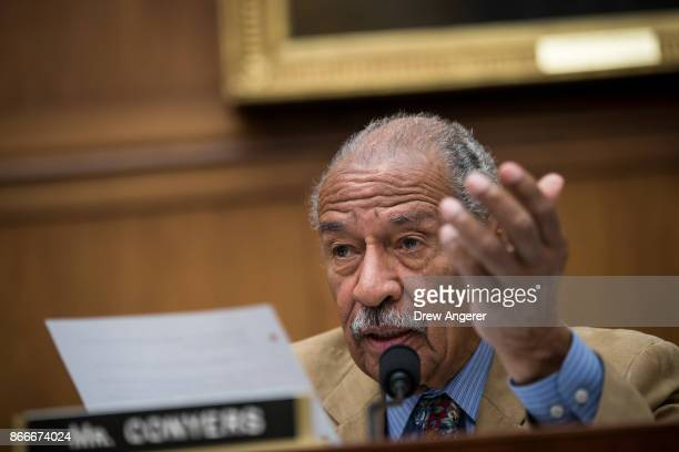 Rep John Conyers questions witnesses during a House Judiciary Committee hearing concerning the oversight of the US refugee admissions program on...
