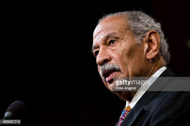 S Rep John Conyers speaks a news conference on Capitol Hill January 16 2014 in Washington DC A group of lawmakers announced that they are introducing...
