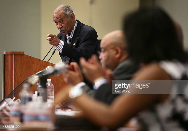 S Rep John Conyers speaks at a session during the Congressional Black Caucus Foundation's 45th annual legislative conference September 18 2015 in...