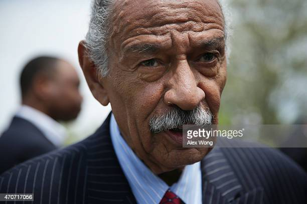 S Rep John Conyers speaks to a reporter at the end of a news conference April 22 2015 on Capitol Hill in Washington DC Rep Conyers held the news...