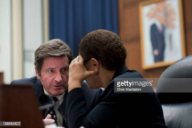 Rep John Garamendi DCalif speaks with Rep Karen Bass DCalif at a House Armed Services committee hearing on 'Update on the Evolving Security Situation...